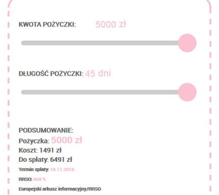 extraportfel.pl - symulacja dla pożyczki 5000 zł na 40 dni
